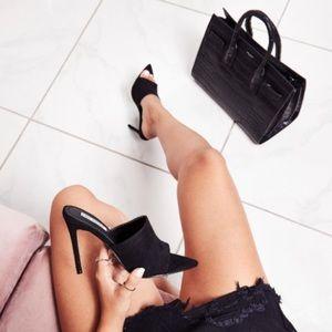 Shoes - Black open toe mules. 4.5 inch heel